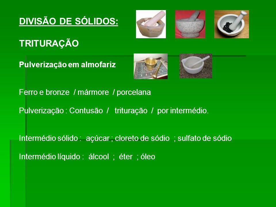DIVISÃO DE SÓLIDOS: TRITURAÇÃO Pulverização em almofariz Ferro e bronze / mármore / porcelana Pulverização : Contusão / trituração / por intermédio.