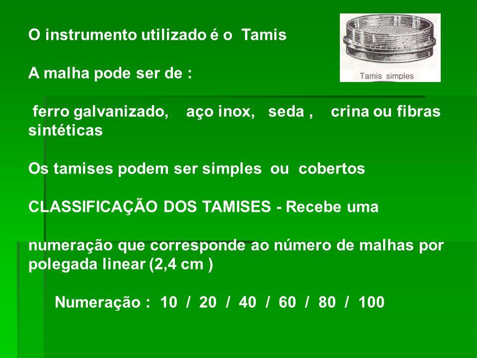 O instrumento utilizado é o Tamis A malha pode ser de : ferro galvanizado, aço inox, seda, crina ou fibras sintéticas Os tamises podem ser simples ou cobertos CLASSIFICAÇÃO DOS TAMISES - Recebe uma numeração que corresponde ao número de malhas por polegada linear (2,4 cm ) Numeração : 10 / 20 / 40 / 60 / 80 / 100