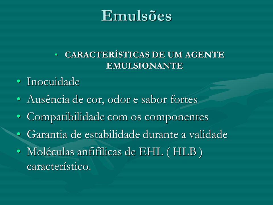 Emulsões CARACTERÍSTICAS DE UM AGENTE EMULSIONANTECARACTERÍSTICAS DE UM AGENTE EMULSIONANTE InocuidadeInocuidade Ausência de cor, odor e sabor fortesA