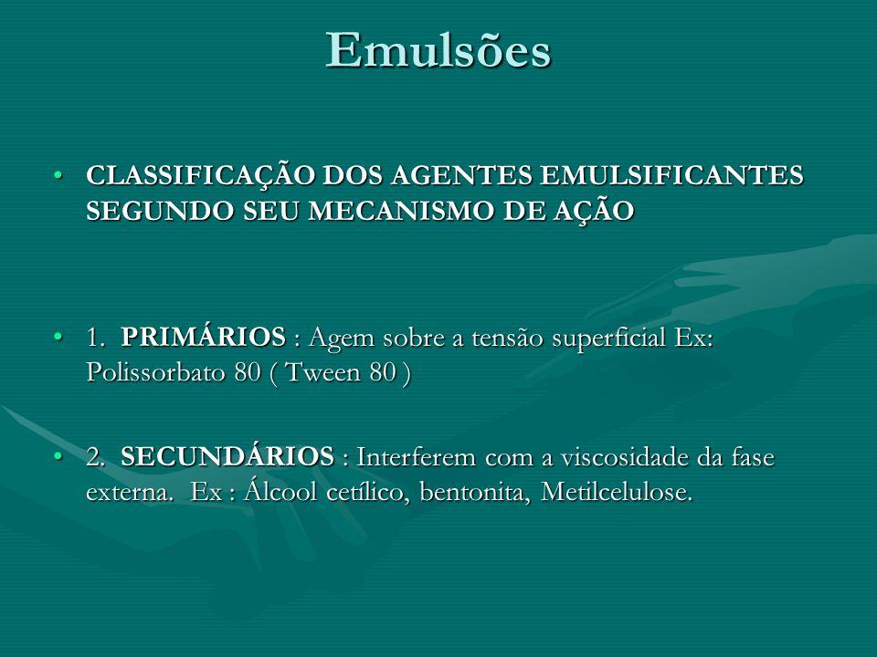 Emulsões CLASSIFICAÇÃO DOS AGENTES EMULSIFICANTES SEGUNDO SEU MECANISMO DE AÇÃOCLASSIFICAÇÃO DOS AGENTES EMULSIFICANTES SEGUNDO SEU MECANISMO DE AÇÃO