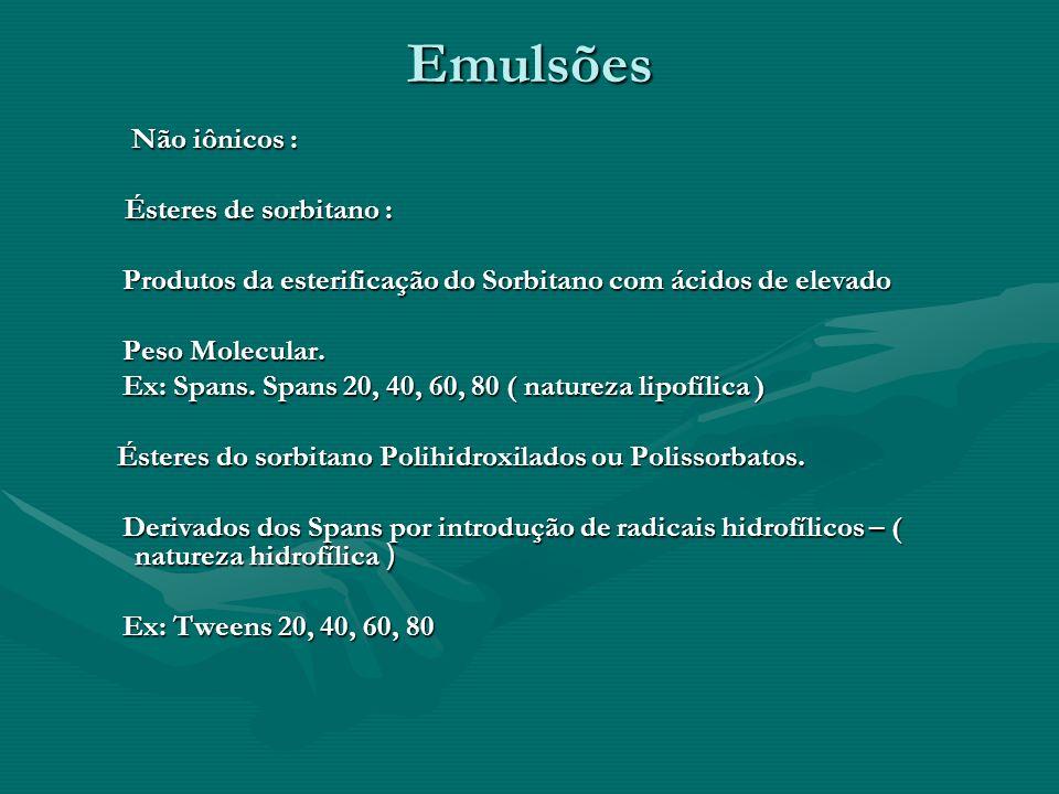 Emulsões Não iônicos : Não iônicos : Ésteres de sorbitano : Ésteres de sorbitano : Produtos da esterificação do Sorbitano com ácidos de elevado Produt