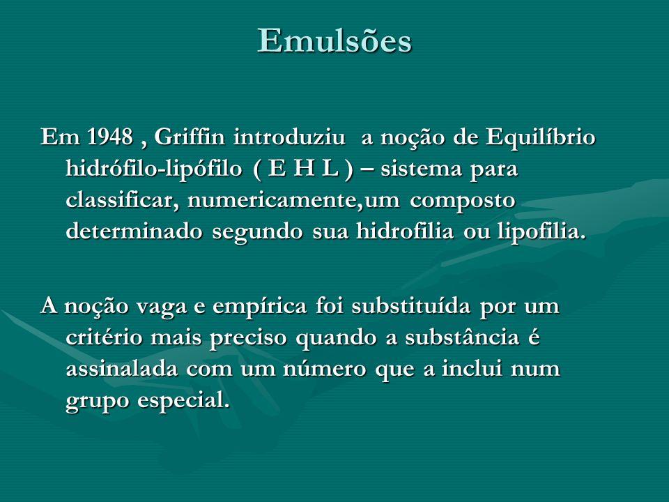 Emulsões Em 1948, Griffin introduziu a noção de Equilíbrio hidrófilo-lipófilo ( E H L ) – sistema para classificar, numericamente,um composto determin