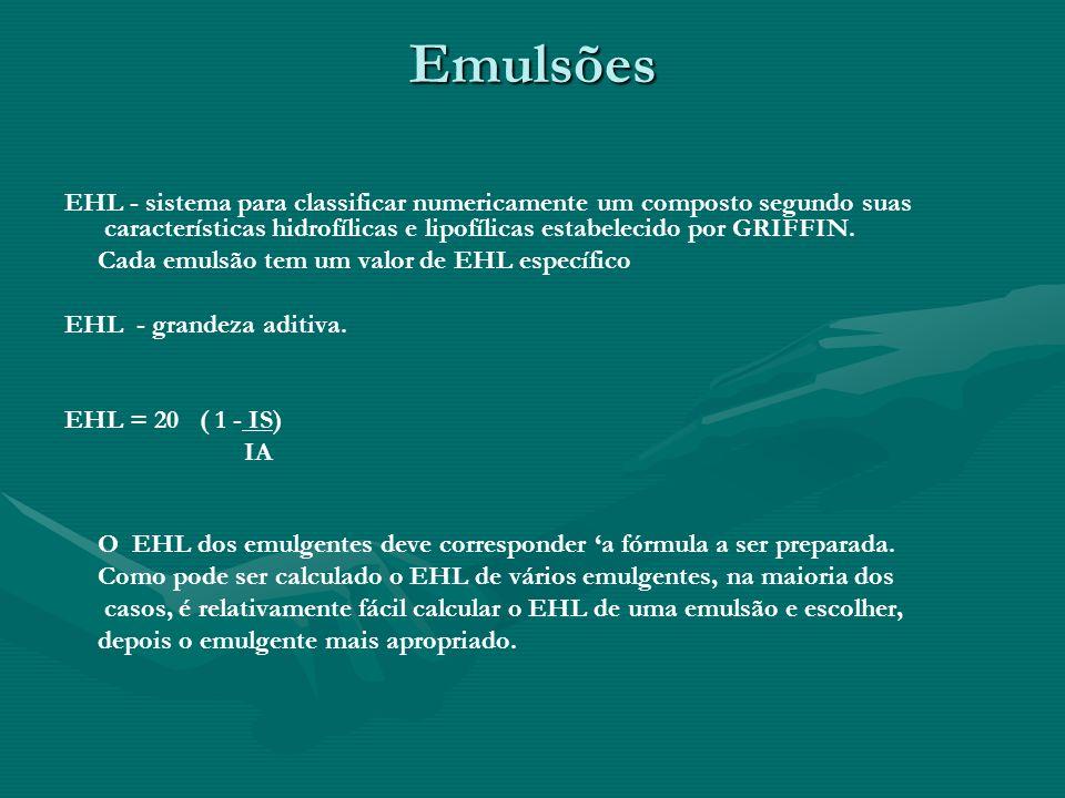 Emulsões EHL - sistema para classificar numericamente um composto segundo suas características hidrofílicas e lipofílicas estabelecido por GRIFFIN. Ca