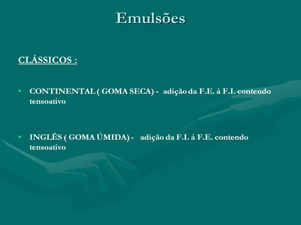 Emulsões CLÁSSICOS : CONTINENTAL ( GOMA SECA) - adição da F.E. à F.I. contendo tensoativo INGLÊS ( GOMA ÚMIDA) - adição da F.I. à F.E. contendo tensoa