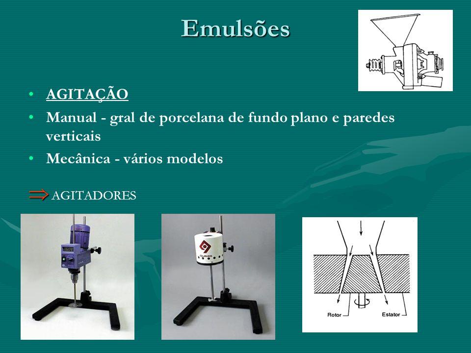 Emulsões AGITAÇÃO Manual - gral de porcelana de fundo plano e paredes verticais Mecânica - vários modelos AGITADORES