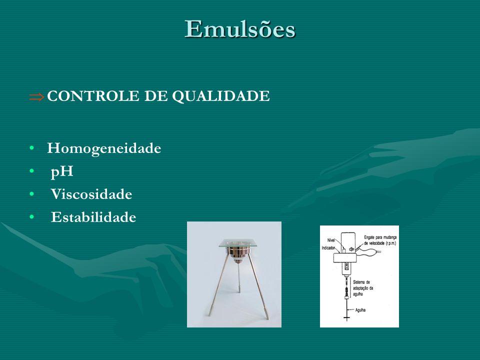 Emulsões CONTROLE DE QUALIDADE Homogeneidade pH Viscosidade Estabilidade