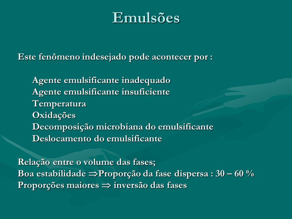 Emulsões Este fenômeno indesejado pode acontecer por : Agente emulsificante inadequado Agente emulsificante insuficiente TemperaturaOxidações Decompos