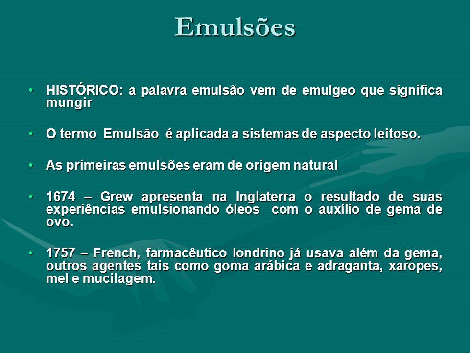 Emulsões HISTÓRICO: a palavra emulsão vem de emulgeo que significa mungirHISTÓRICO: a palavra emulsão vem de emulgeo que significa mungir O termo Emul