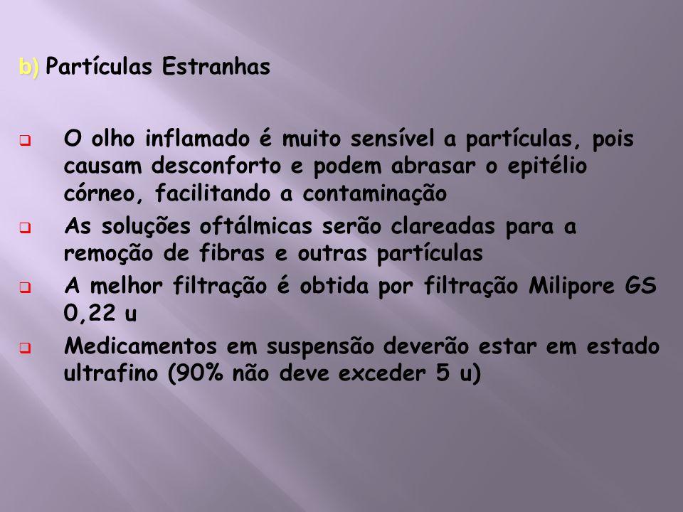 b) b) Partículas Estranhas O olho inflamado é muito sensível a partículas, pois causam desconforto e podem abrasar o epitélio córneo, facilitando a co