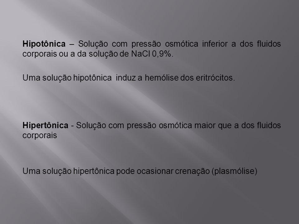 Hipotônica – Solução com pressão osmótica inferior a dos fluidos corporais ou a da solução de NaCl 0,9%. Uma solução hipotônica induz a hemólise dos e