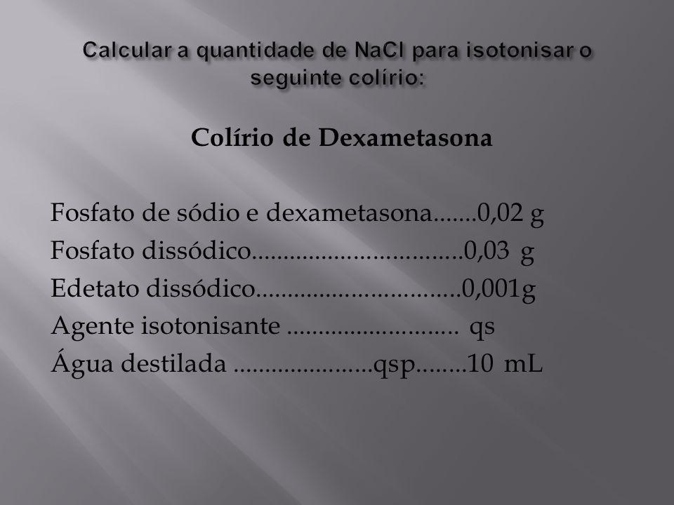 Colírio de Dexametasona Fosfato de sódio e dexametasona.......0,02 g Fosfato dissódico.................................0,03 g Edetato dissódico.......