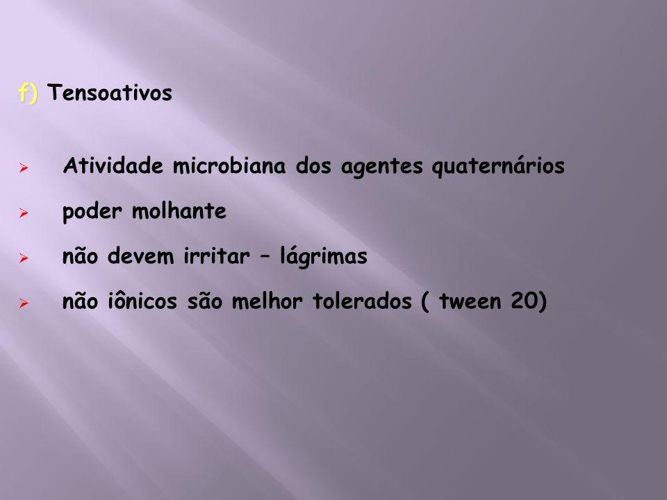 f) f) Tensoativos Atividade microbiana dos agentes quaternários poder molhante não devem irritar – lágrimas não iônicos são melhor tolerados ( tween 2