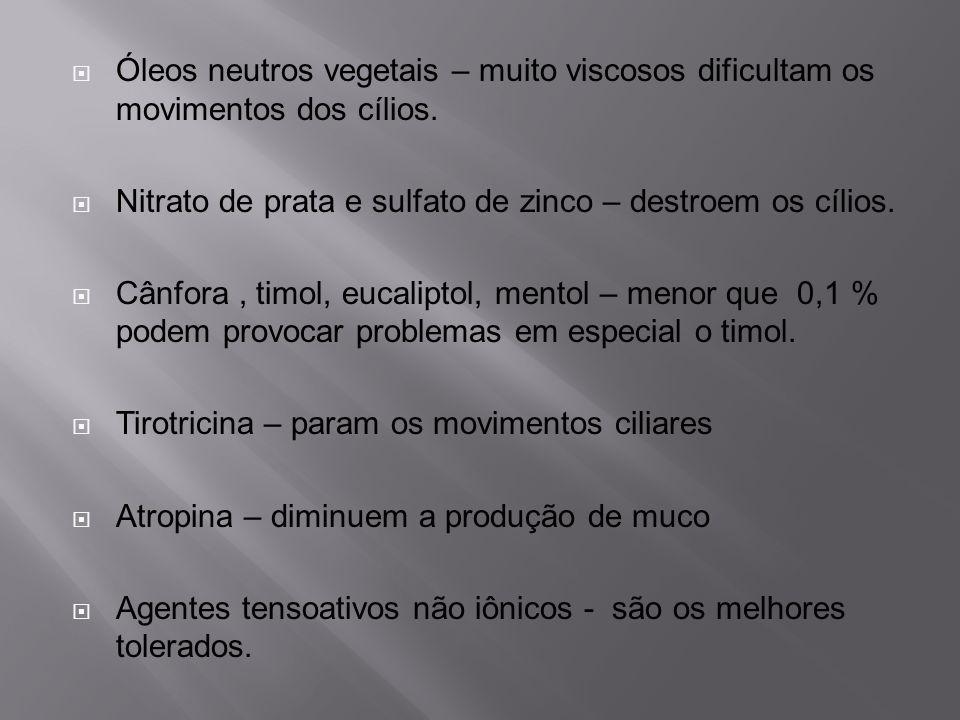 Óleos neutros vegetais – muito viscosos dificultam os movimentos dos cílios. Nitrato de prata e sulfato de zinco – destroem os cílios. Cânfora, timol,