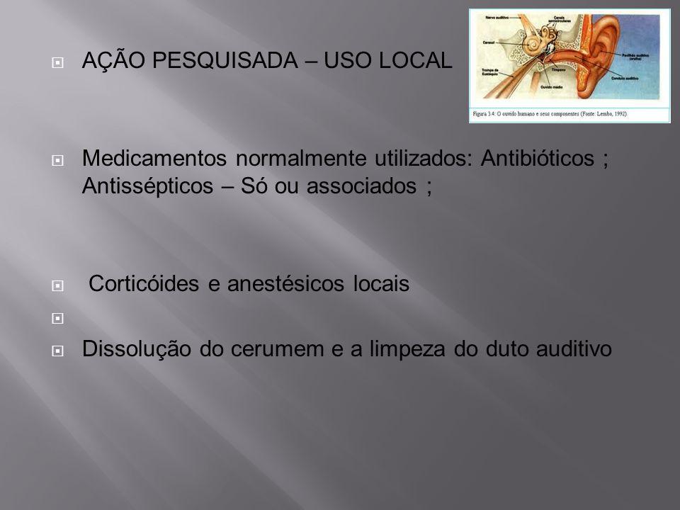 AÇÃO PESQUISADA – USO LOCAL Medicamentos normalmente utilizados: Antibióticos ; Antissépticos – Só ou associados ; Corticóides e anestésicos locais Di