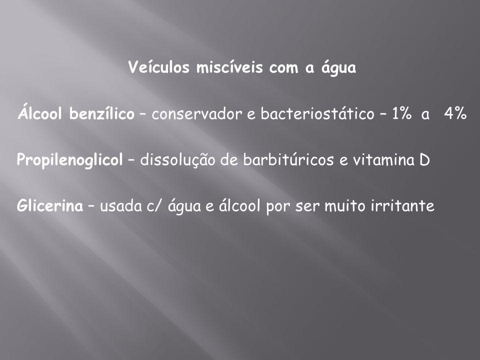 Veículos miscíveis com a água Álcool benzílico – conservador e bacteriostático – 1% a 4% Propilenoglicol – dissolução de barbitúricos e vitamina D Gli