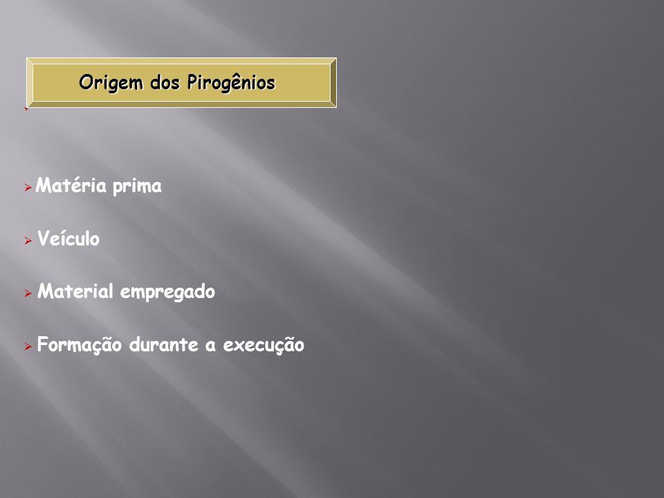 Matéria prima Veículo Material empregado Formação durante a execução Origem dos Pirogênios