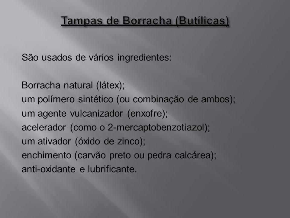 São usados de vários ingredientes: Borracha natural (látex); um polímero sintético (ou combinação de ambos); um agente vulcanizador (enxofre); acelera