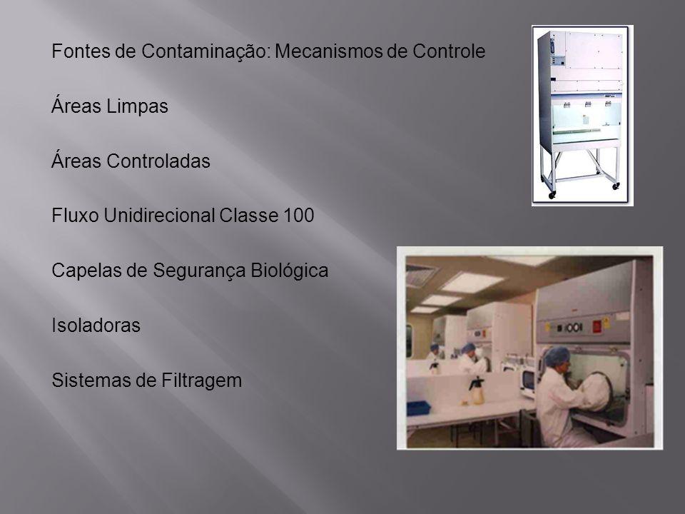 Fontes de Contaminação: Mecanismos de Controle Áreas Limpas Áreas Controladas Fluxo Unidirecional Classe 100 Capelas de Segurança Biológica Isoladoras