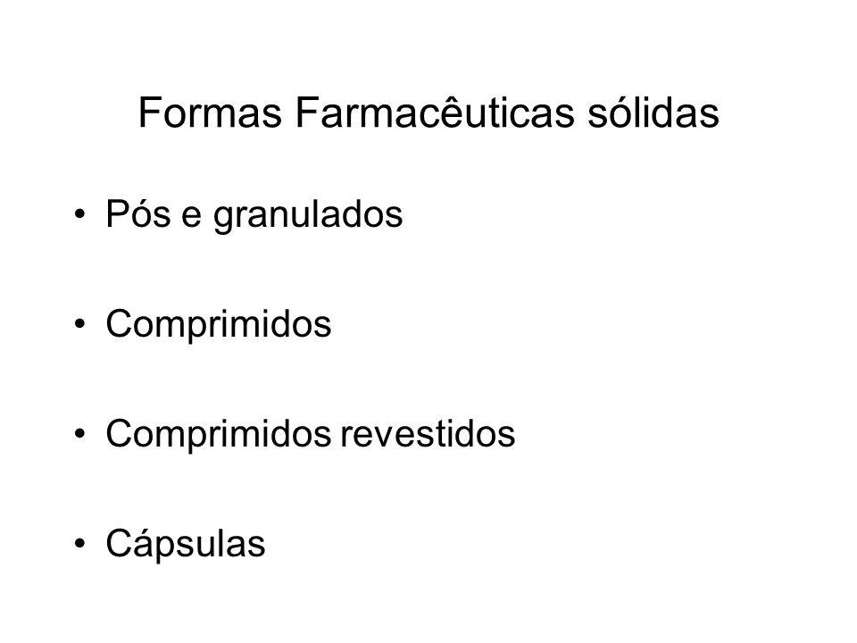 Formas Farmacêuticas sólidas Pós e granulados Comprimidos Comprimidos revestidos Cápsulas