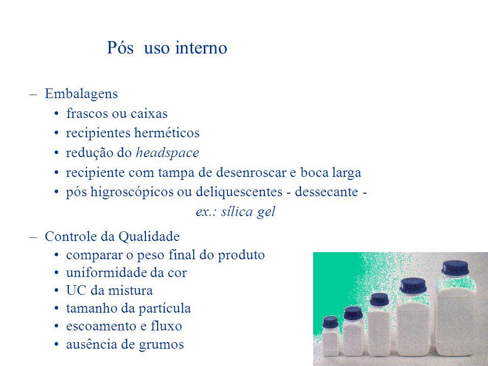Pós uso interno Definição: dispensados em frascos ou potes de boca larga, administrados por colheres de medição.