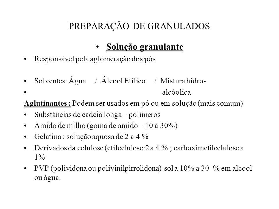 PREPARAÇÃO DOS GRANULADOS 1. Via úmida : Envolve 4 fases: A) Umedecimento dos pós B) Granulação da massa C) Secagem D) Calibração