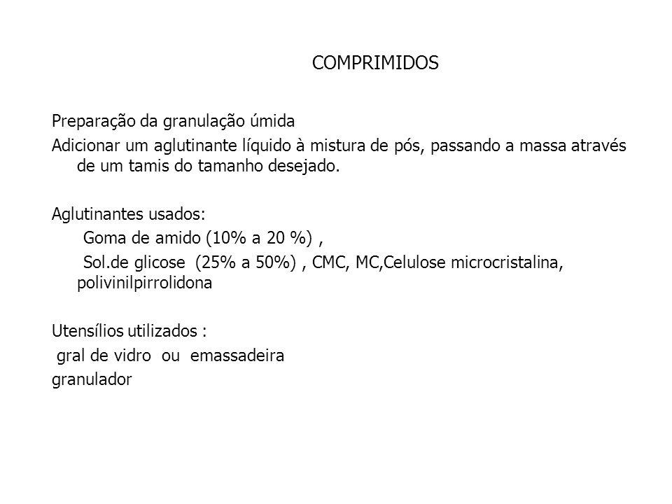 COMPRIMIDOS Diluentes mais usados : lactose, celulose microcristalina Agentes desintegrantes: amido, glicolato de amido sódico, croscarmelose, CMC, PV
