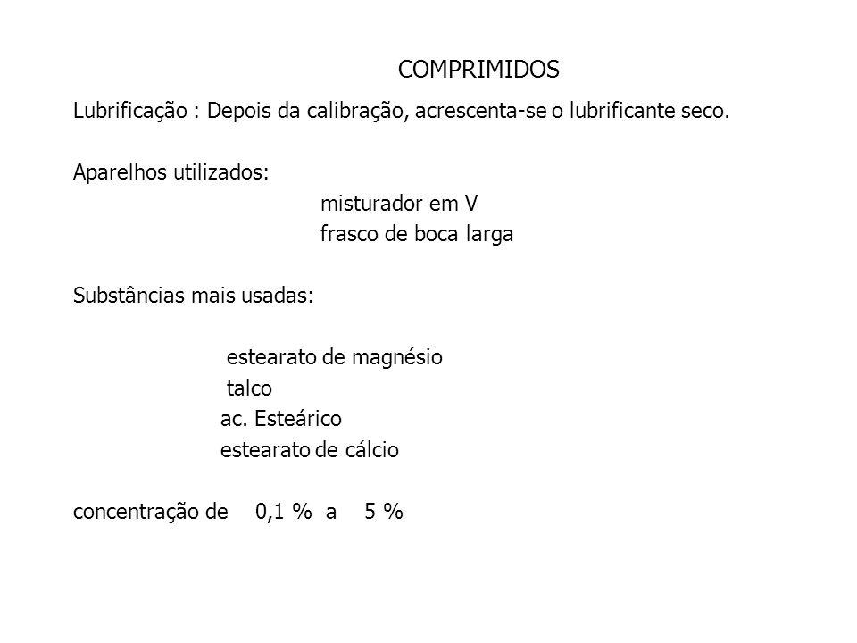 COMPRIMIDOS Tamisação da massa úmida: *A massa é pressionada por um tamis determinado.