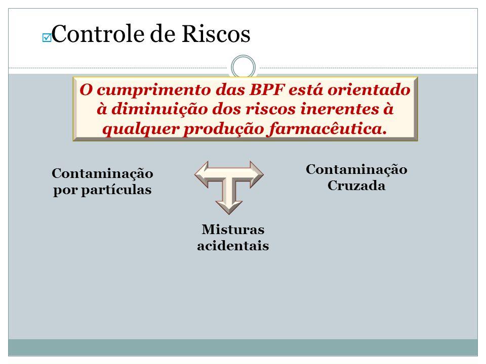 Controle de Riscos O cumprimento das BPF está orientado à diminuição dos riscos inerentes à qualquer produção farmacêutica. Contaminação por partícula