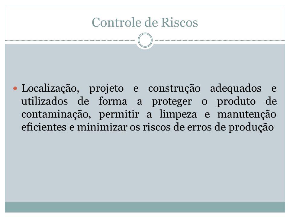 Controle de Riscos Localização, projeto e construção adequados e utilizados de forma a proteger o produto de contaminação, permitir a limpeza e manute