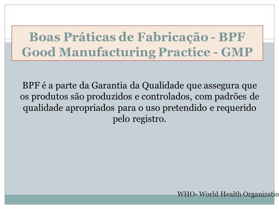 Boas Práticas de Fabricação - BPF Good Manufacturing Practice - GMP BPF é a parte da Garantia da Qualidade que assegura que os produtos são produzidos