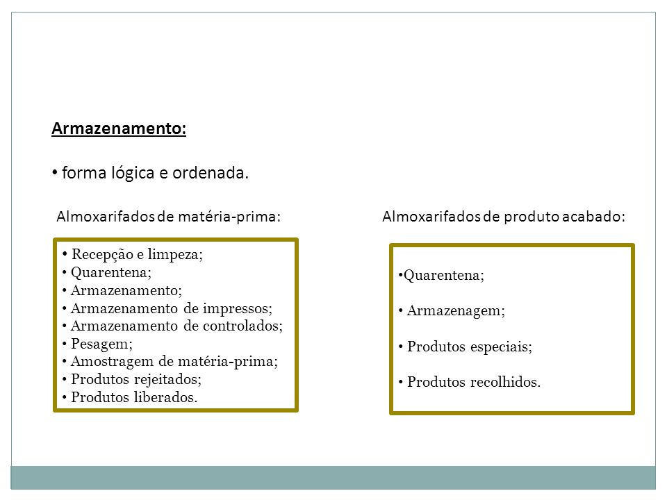 Armazenamento: forma lógica e ordenada. Recepção e limpeza; Quarentena; Armazenamento; Armazenamento de impressos; Armazenamento de controlados; Pesag