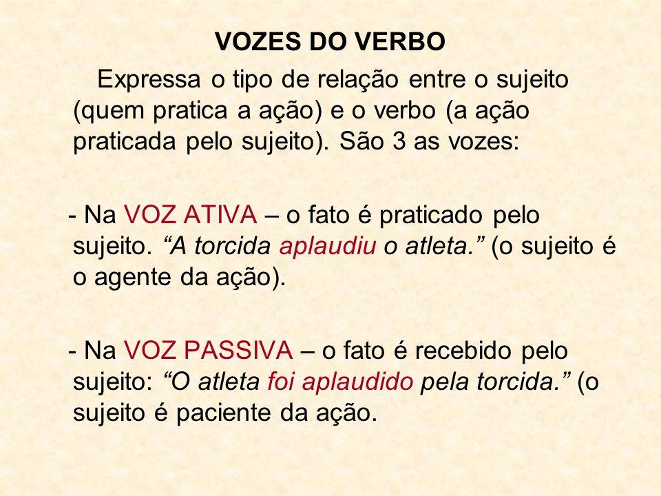 VOZES DO VERBO Expressa o tipo de relação entre o sujeito (quem pratica a ação) e o verbo (a ação praticada pelo sujeito). São 3 as vozes: - Na VOZ AT