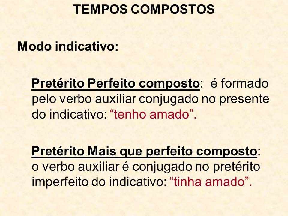 TEMPOS COMPOSTOS Modo indicativo: Pretérito Perfeito composto Pretérito Perfeito composto: é formado pelo verbo auxiliar conjugado no presente do indi