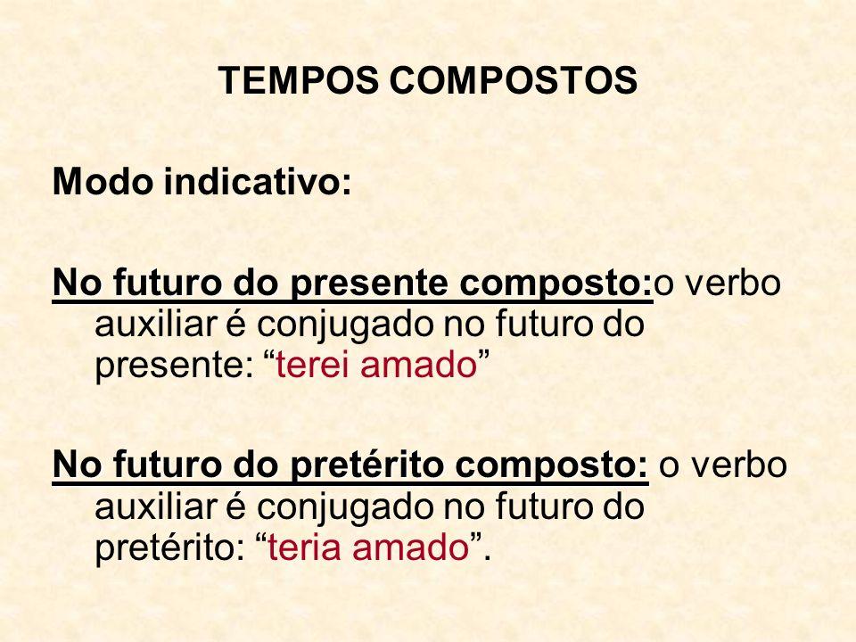 TEMPOS COMPOSTOS Modo indicativo: No futuro do presente composto: No futuro do presente composto:o verbo auxiliar é conjugado no futuro do presente: t