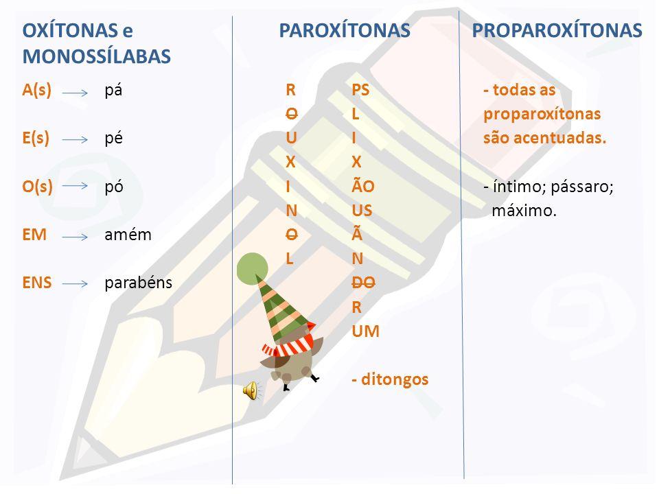 Regras de acentuação: - Paroxítonas: acentuam-se as paroxítonas terminadas em: R mártir O U(s) húmus X tórax I (s) lápis N hífen O L túnel - ditongo: importância PS bíceps L móvel I(S) táxi X látex ÃO órgão USvírus Ãímã Níon DO Rdólar UM(UNS)fórum, álbuns PS LIXÃO USANDO RUM