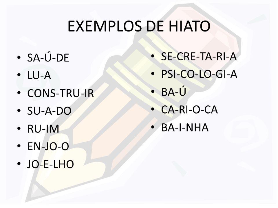 EXEMPLOS DE HIATO SA-Ú-DE LU-A CONS-TRU-IR SU-A-DO RU-IM EN-JO-O JO-E-LHO SE-CRE-TA-RI-A PSI-CO-LO-GI-A BA-Ú CA-RI-O-CA BA-I-NHA