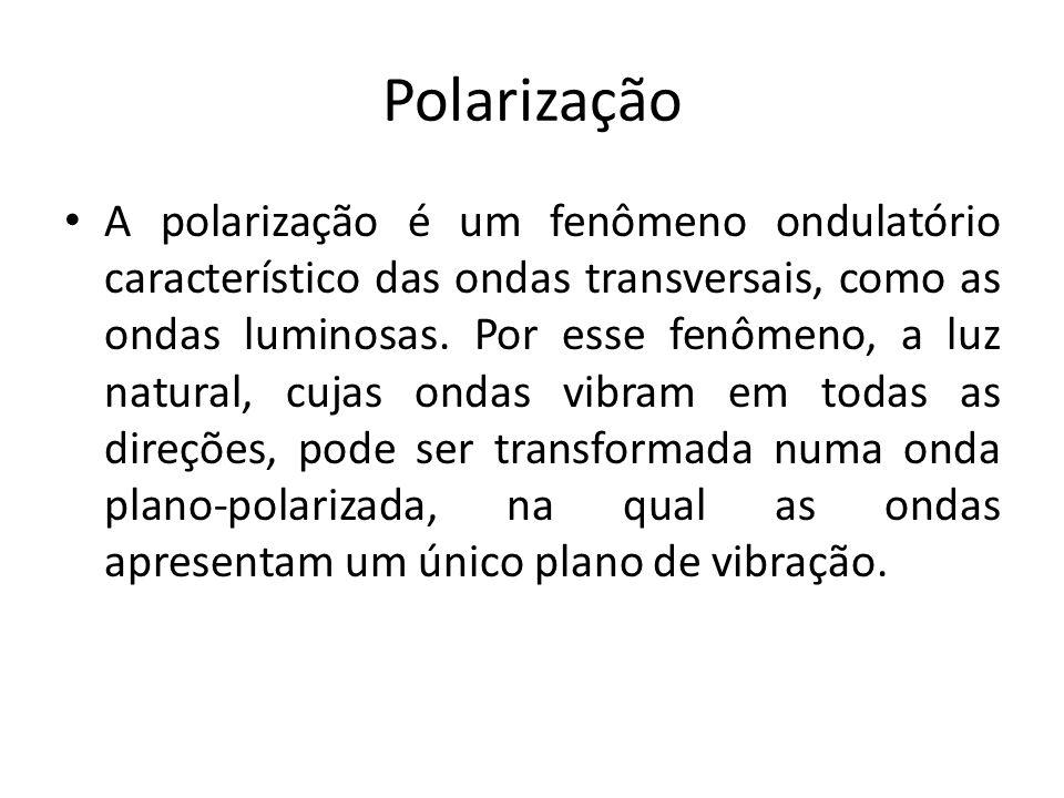 Polarização A polarização é um fenômeno ondulatório característico das ondas transversais, como as ondas luminosas. Por esse fenômeno, a luz natural,