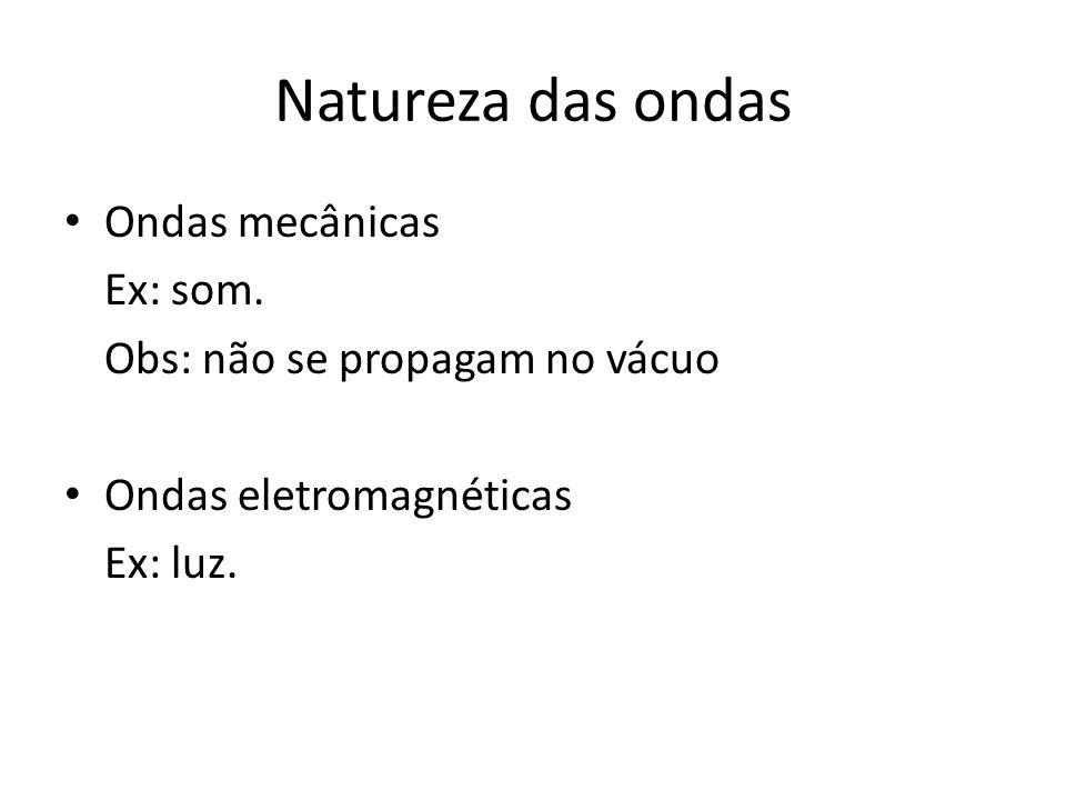 Natureza das ondas Ondas mecânicas Ex: som. Obs: não se propagam no vácuo Ondas eletromagnéticas Ex: luz.