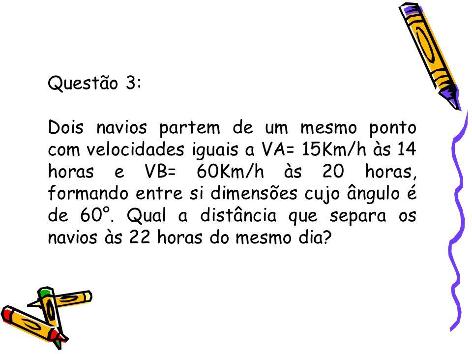 Questão 3: Dois navios partem de um mesmo ponto com velocidades iguais a VA= 15Km/h às 14 horas e VB= 60Km/h às 20 horas, formando entre si dimensões