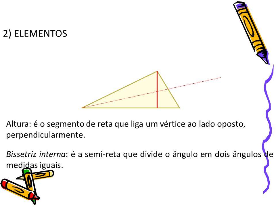 2) ELEMENTOS Altura: é o segmento de reta que liga um vértice ao lado oposto, perpendicularmente. Bissetriz interna: é a semi-reta que divide o ângulo