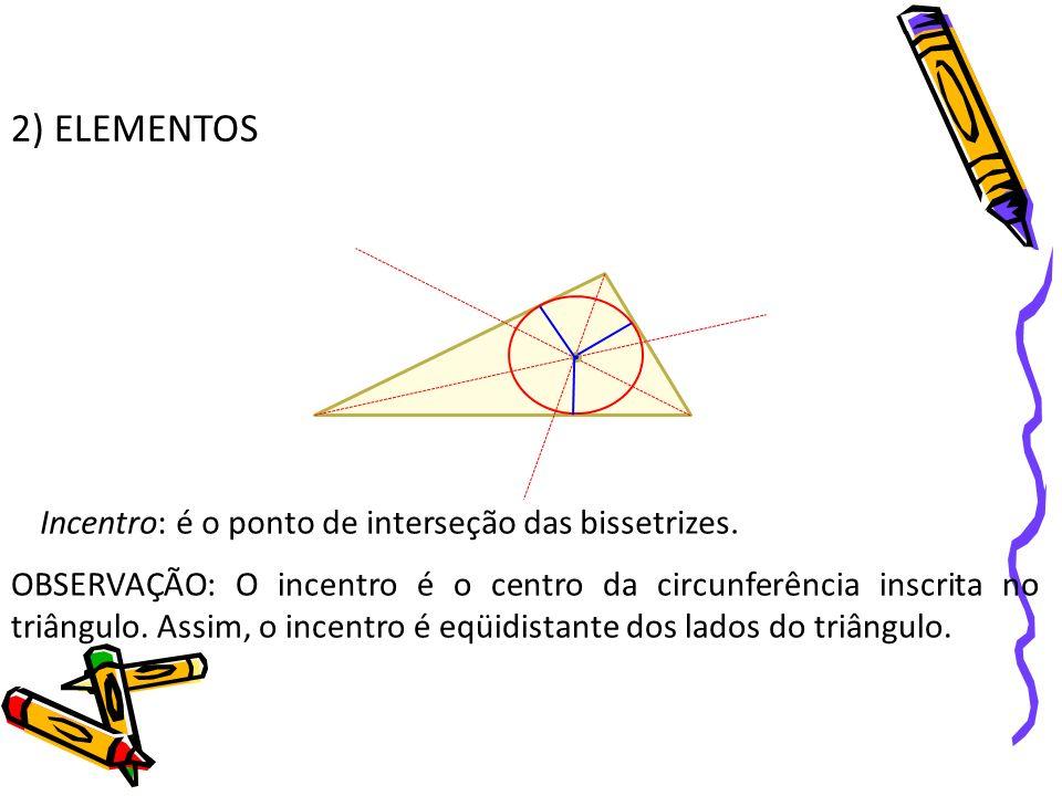 2) ELEMENTOS Incentro: é o ponto de interseção das bissetrizes. OBSERVAÇÃO: O incentro é o centro da circunferência inscrita no triângulo. Assim, o in