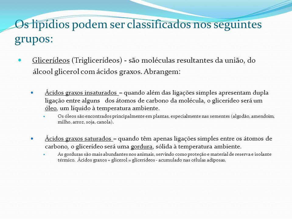 Os lipídios podem ser classificados nos seguintes grupos: Glicerídeos (Triglicerídeos) - são moléculas resultantes da união, do álcool glicerol com ác