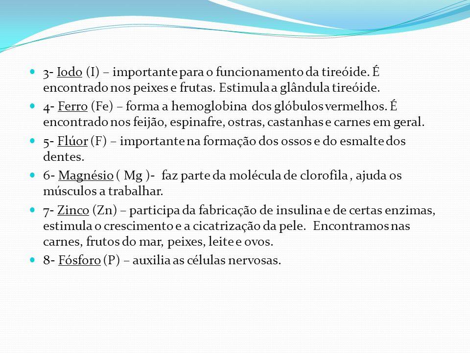 3- Iodo (I) – importante para o funcionamento da tireóide. É encontrado nos peixes e frutas. Estimula a glândula tireóide. 4- Ferro (Fe) – forma a hem