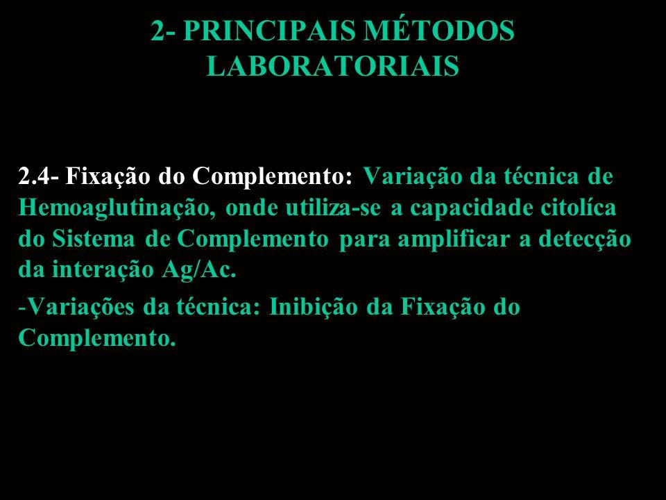 2.4- Fixação do Complemento: Variação da técnica de Hemoaglutinação, onde utiliza-se a capacidade citolíca do Sistema de Complemento para amplificar a