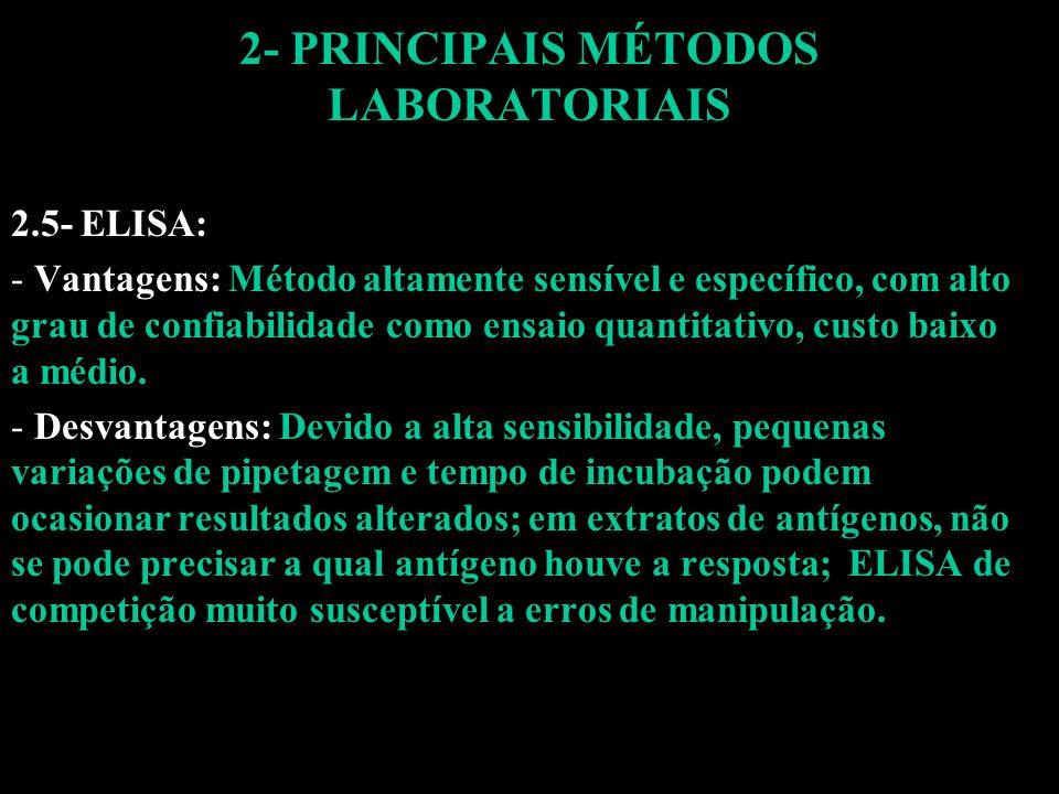 2- PRINCIPAIS MÉTODOS LABORATORIAIS 2.5- ELISA: - Vantagens: Método altamente sensível e específico, com alto grau de confiabilidade como ensaio quant