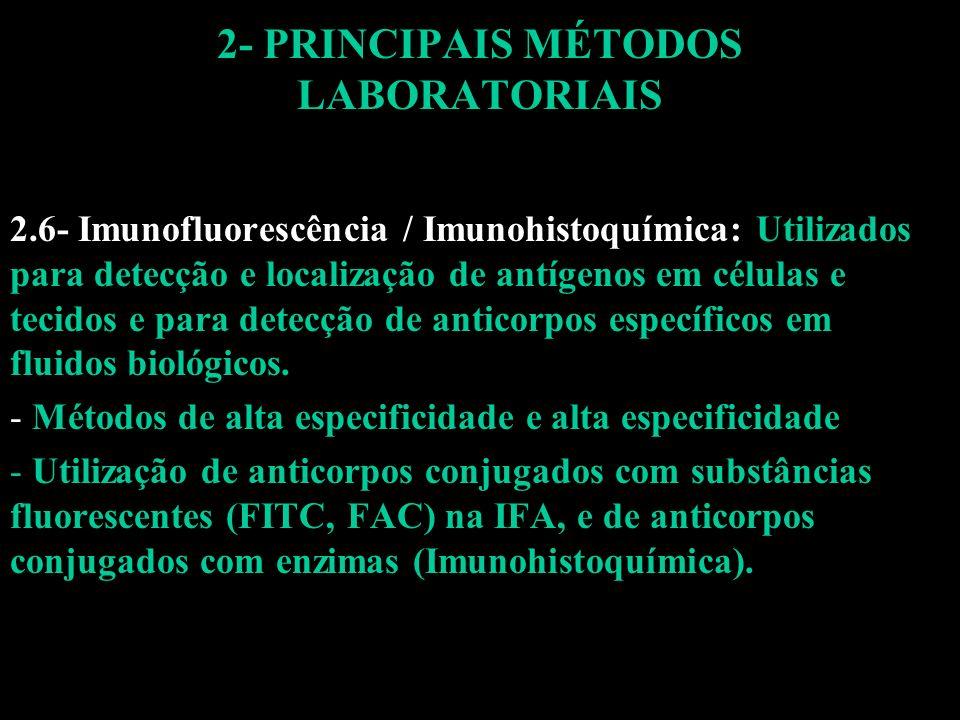 2- PRINCIPAIS MÉTODOS LABORATORIAIS 2.6- Imunofluorescência / Imunohistoquímica: Utilizados para detecção e localização de antígenos em células e teci