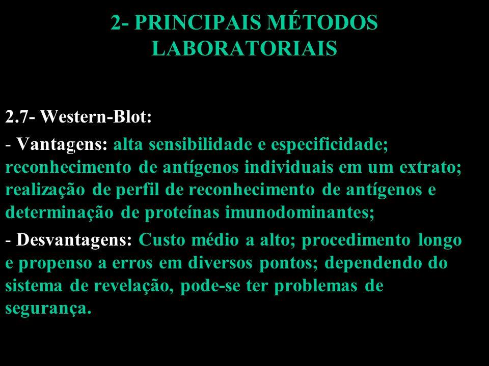 2- PRINCIPAIS MÉTODOS LABORATORIAIS 2.7- Western-Blot: - Vantagens: alta sensibilidade e especificidade; reconhecimento de antígenos individuais em um