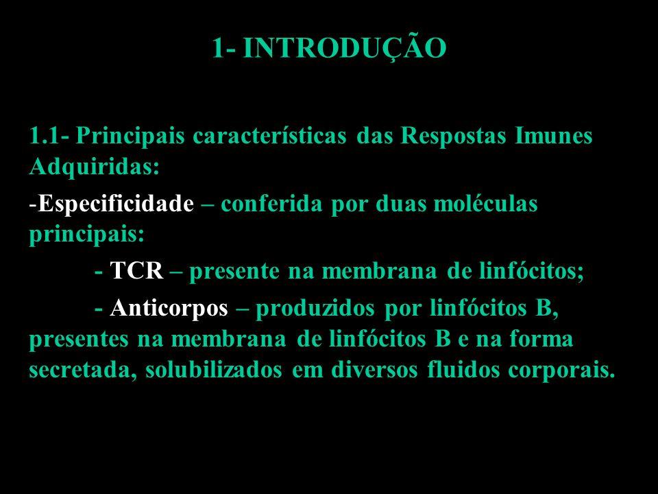 1- INTRODUÇÃO 1.1- Principais características das Respostas Imunes Adquiridas: -Especificidade – conferida por duas moléculas principais: - TCR – pres