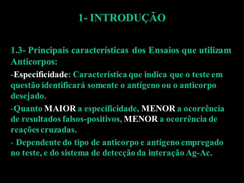 1- INTRODUÇÃO 1.3- Principais características dos Ensaios que utilizam Anticorpos: -Especificidade: Característica que indica que o teste em questão i