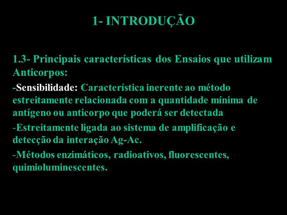 1- INTRODUÇÃO 1.3- Principais características dos Ensaios que utilizam Anticorpos: -Sensibilidade: Característica inerente ao método estreitamente rel